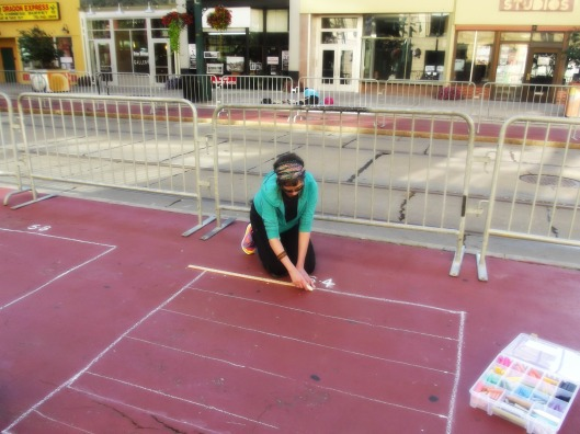 ChalkFest Buffalo 2013 August 3rd and 4th.  Morning start..drawing my grid.