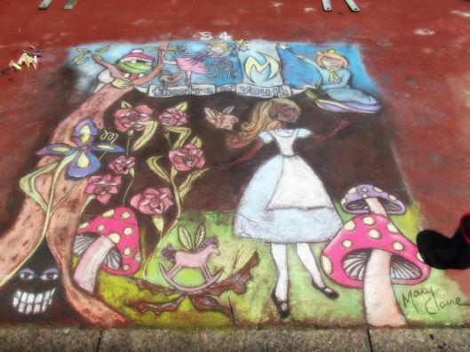 Ta da!  Finished at 2 pm for the Theatre of Youth!  Alice in the garden of talking flowers.