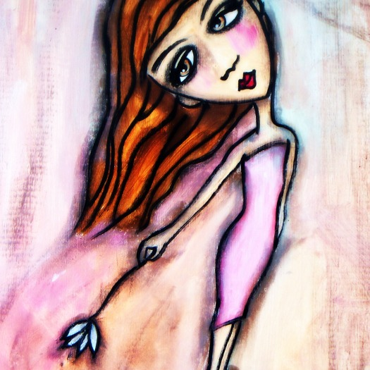 """Audrey by Mary Claire 2010 Mixed media on wood 10 x 8 x 3/4"""""""