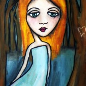 """Aurora by Mary Claire 2010 Mixed media on wood 10 x 8 x 3/4"""""""
