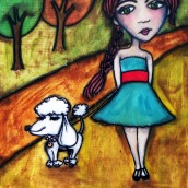 """Autumn and Her Dog by Mary Claire 2010 Mixed media on wood 12 x 12 x 3/4"""""""