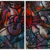 """Dichotomy by Mary Claire 2012 Acrylic on two canvases 24 x 18 x 3/4"""" http://etsy.me/14DEZim"""