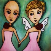 """Faith and Grace by Mary Claire 2010 Mixed media on wood 12 x 12 x 3/4"""""""