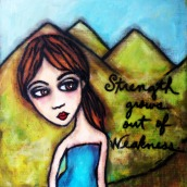 """Gia by Mary Claire 2010 Mixed media on wood 12 x 12 x 3/4"""""""