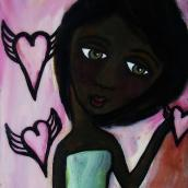 """Layla by Mary Claire 2010 Mixed media on wood 10 x 8 x 3/4"""""""