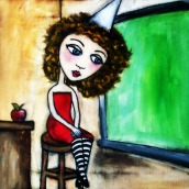 """Paige by Mary Claire 2010 Mixed media on canvas 12 x 12 x 3/4"""""""