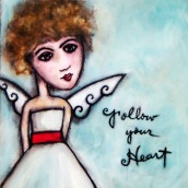 """Scarlett by Mary Claire 2010 Mixed media on wood 12 x 12 x 3/4"""""""