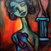 """Pursuit of Venus by Mary Claire 2012 Acrylic on canvas 12 x 12 x 3/4"""" http://etsy.me/Z0yJKU"""