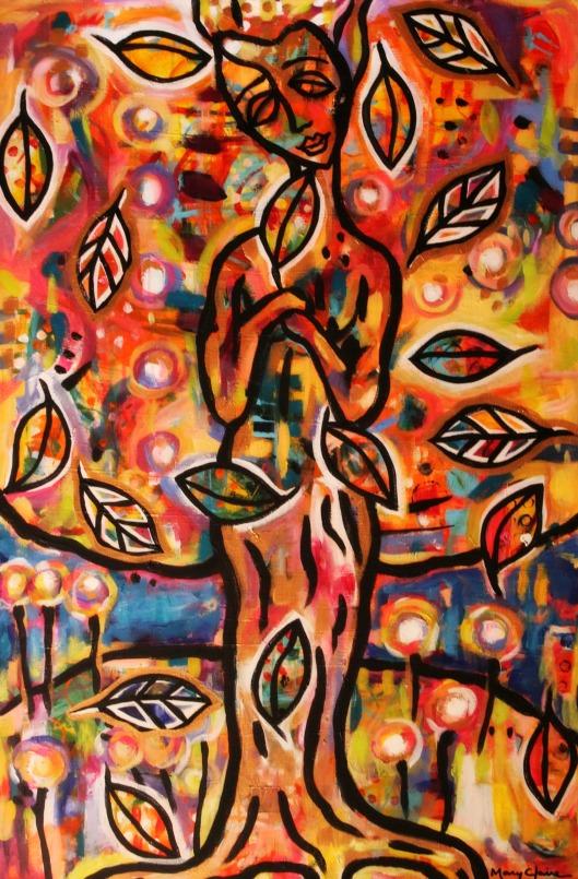 "Joy and Sorrow   Mary Claire   Acrylic on canvas   36 x 24 x 3/4"""