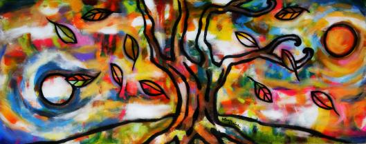 "Stillness Within   Mary Claire   Acrylic on canvas   12 x 30 x 1.5"""